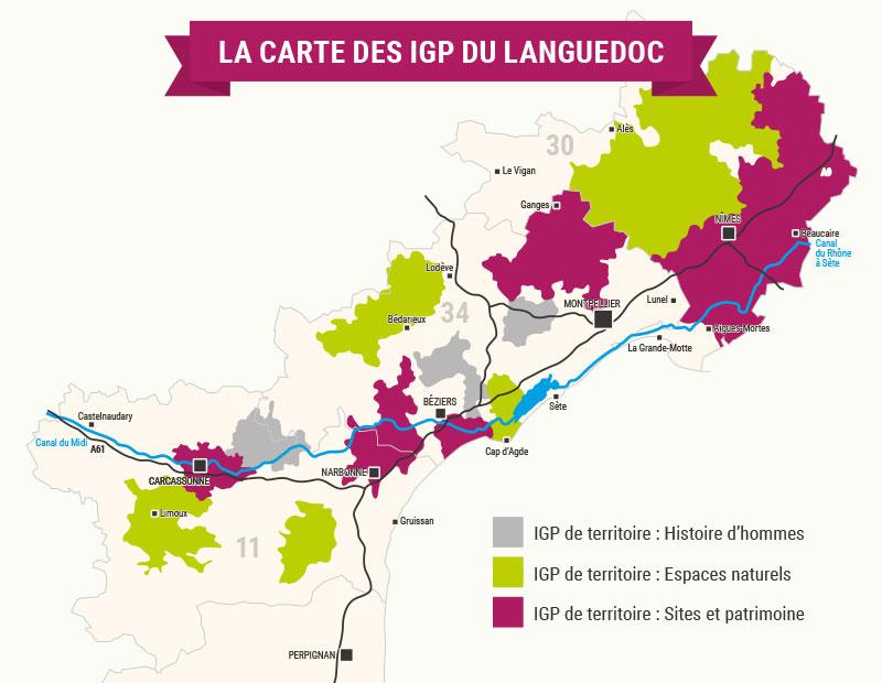 Carte des vins IGP du Languedoc
